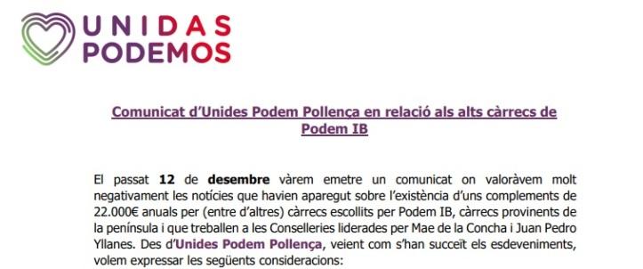 2. Reflexió 23_12_2019, segon Comunicat en relació als Alts Càrrecs de Podem IB, Podem Pollença